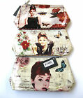 LADIES AUDREY HEPBURN ZIP FASTENING MAKE UP BAG ELLA 72735  *3 DESIGNS*