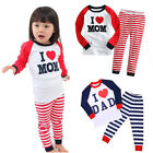 Long Sleeve Kids Boys Girls Pajamas Pyjama Suits Sets Sleepwear Set Gift 1-7