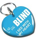 custom pet tag dog ID cat tags I'm Blind I See With My Heart Baby Blue diff size