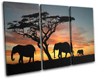 Elephants African Sunset Animals TREBLE CANVAS WALL ART Picture Print VA