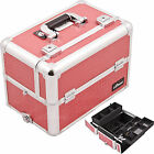 Sunrise Hot Pink Gator 3 Trays Wide Open Makeup Case Cosmetic Organizer E3302