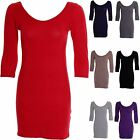 Ladies 3/4 Sleeve Long Top Tunic T-Shirt Coloured Bodycon Women's Dress 8-14