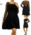 D43 New Womens Black Cocktail Wedding Sping Race Party Evening Lace Dress Plus