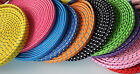 Lot FLAT BRAIDED 10FT LONG fabric charge cables FOR iphone 4 4s & ipod data sync