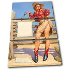 Vintage Girl Retro Pin-ups TREBLE CANVAS WALL ART Picture Print VA
