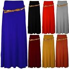 Ladies Loose Long Flowing Thick Belted Plain Coloured Maxi Dress Womens Skirt