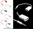 3.5mm Male to Dual 2 Jack Earphone Headphone Audio Splitter Cable Lead Y cable