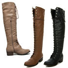 New Womens Over The Knee Up Fashion Military Combat Boots Breckelle's ALABAMA-12