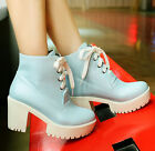 US4-11 fashion womens ankle boots chunky heels lace Up punk block heels shoes