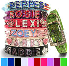 Glitter PU Leather Personalized Rhinestone Bling Dog Collar 4 Small, Medium, XL