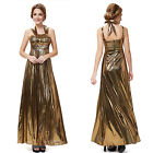 Ever Pretty Halter Gold Evening Dresses Maxi Prom Gown