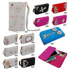 "Cute Bling Diamond PU Leather Folio Wallet Pouch Case Cover For 4.7""-5"" Phone"