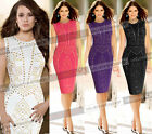 Women Studded Work Cocktail Party Evening Fitted Bodycon Pencil Sheath Dress 673