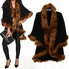 Ladies Celeb Double Layered Batwing Black Faur Fur Trim Shawl Women's Cape