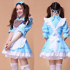 Blue Cosplay Costume Sexy Half Sleeve Servant Maid Outfits Party Dress Set Apron