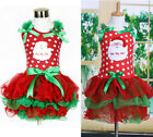 NEW Baby Kids Girls Christmas Candy Santa Lace Tutu Dress Skirt One-piece Outfit