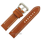 Smooth Genuine Leather Strap for Big Watch White line Stitched Band Big Belt Pin