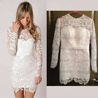 Sexy Ladies Long Sleeve Lace Hollow Embroider Party Cocktail Evening Short Dress