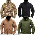 MENS FLEECE HOODED JACKET FULL ZIP MILITARY FISHING HIKING CAMPING CLOTHING ARMY