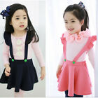 New Kids Girls Stretch Cotton Suspender Skirt Overalls Clothing Girls Dress UK