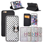 Bling  Luxury Diamond Crystal PU Leather Stand Flip Case Cover For iPhone 6/Plus