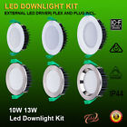 6PCS 10W/13W DIMMABLE LED DOWNLIGHT KIT SAMSUNG SMD WHITE & CHROME FITTING