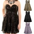 Women's Bustier Sweetheart Neck Ladies Short Sequin Skater Cocktail Party Dress