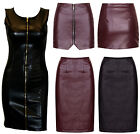 Women Asymmetric Front Zip Short Faux Leather High Waist Mini Pencil Skirt Dress