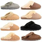 NEW LADIES FLAT FAUX FURRY LINING COMFORTABLE GRIP SOLE SLIPPERS MULE SIZE 3-8