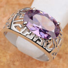 TOP OVAL PURPLE AMETHYST GEMSTONES SILVER RING Size5.5 T6615