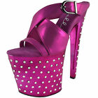 ELLIE Shoes Metallic Rhinestone Platform Sandal Buckle Detail 821-SANDRA Fuchsia