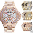 New Luxury Womens Ladies Wrist Watch Bling Crystal Steel Golden Quartz Analog LE