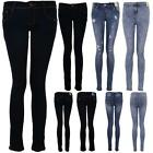 Women's Dark Denim Light Acid Wash Ladies High Waist Ripped Skinny Fit Jeans