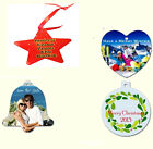 Personalised Xmas Decorations, Baubles In 4 Designs Add Your Own Photo or Text