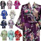 Bridesmaid Robes Wedding Kimono Bridal Peacock Satin Bath Dressing Gown Floral