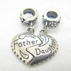 A pair ! Father daughter Love heart Dangle 925 Sterling Silver charms Bead Gifts