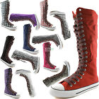 Woman Canvas Mid Calf Tall Boots Casual Sneaker Punk Flat Hot Brown Shoelace