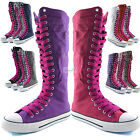 Woman Canvas Mid Calf Tall Boots Casual Sneaker Punk Flat Hot Pink Shoelace