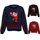 Girls Festive Christmas XMAS Snow Santa Children's Aztec Knitted Jumper Sweater