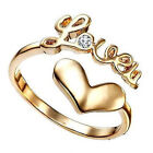 14K Gold Plated 925 Silver American Diamond Awesome Romantic Love Ring For Girls