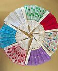 New Embroidered Fabric Folding Hand Held Fan Sequins Party Bridals - US Seller