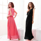 Ladies Womens Chiffon Bohemia Long Beach Maxi Dress Sleeveless Pleated Cocktail