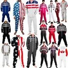 Внешний вид - Adults Mens Non Footed Jumpsuit one Piece Pajamas Zipper Hoodie Playsuit