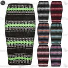 Womens Ladies Cable Aztec Knitted Bodycon Office Pencil Tube Wiggle Midi Skirt