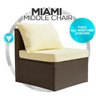 New Miami PE Wicker Indoor Outdoor Furniture Middle Lounge Chair Sofa w/ Cushion