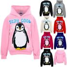 Children's Penguin Stay Cool Girls Hooded Pull Over Sweatshirt Christmas Hoodie