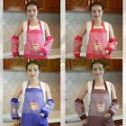 Women Lady Dress Home Kitchen Pocket Cooking Poly Apron Bib w/ Oversleeve BL NEW
