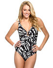 Womens Miraclesuit Ring Ring Black and White Abstract Print Ladies Swimsuit