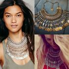 Women Charm Coins Tassel Statement Bib Chunky Choker Chain Party Club Necklace F