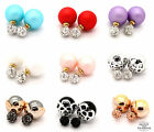 CELEBRITY RUNWAY DIAMANTE DOUBLE DOT STUD EARRINGS DOUBLE PEARL EARRINGS